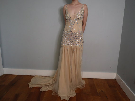 Sequined Princess Dress in Nude - Handmade - image 2