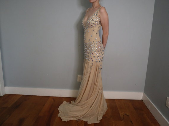 Sequined Princess Dress in Nude - Handmade - image 4