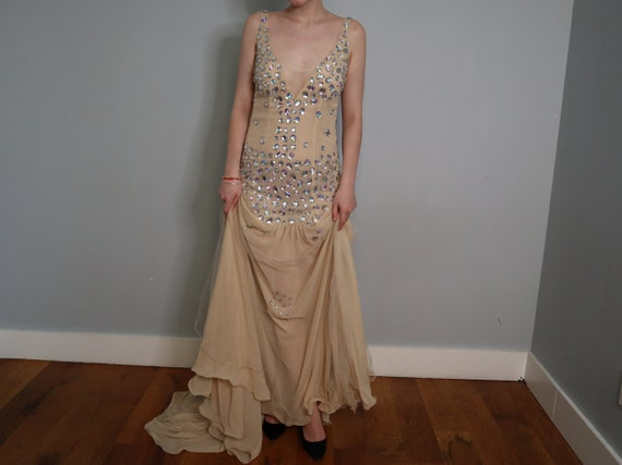 Sequined Princess Dress in Nude - Handmade - image 5