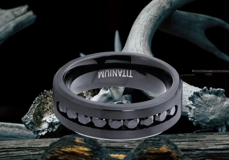 Comfort Fit Black Titanium 1.8 Ct 6 mm Wedding Ring Titanium Men/'s Ring Princess Cut Black CZ Brushed Ring Men/'s Ring