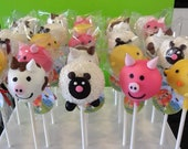 Farm Animal Cake Pops, Barnyard Birthday, First Birthday, Second Birthday Cake Pop, Birthday Favor, Farm Animal Dessert Table, Edible Favor