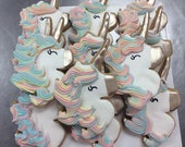 Unicorn sugar cookies for Unicorn themed party for girl birthday party, Iced sugar cookies for Unicorn décor fun party favor