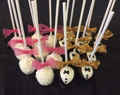 Bride & Groom Cake Pops, Wedding cake pops, Wedding Favors, Rehearsal Dinner Cake Pops, Edible Wedding Favor