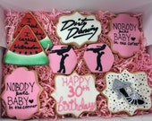 Dirty Dancing Inspired Cookies, Birthday cookie set, No Body Puts Baby in a Corner, I Carried a Watermelon, Milestone Birthday, 80's theme