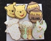 Winne the pooh sugar cookies, winnie the pooh babyshower, disney babyshower, babyshower favor, winnie the pooh favor, disney inspired cookie