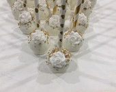 Rose Cake Pops, Elegant Cake Pops, Gold Bling Cake Pops, Milestone Birthday, Edible Favor