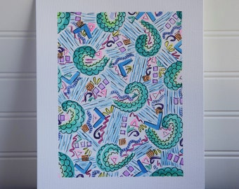 8x10 Original Watercolor Warm Toned  Geometric
