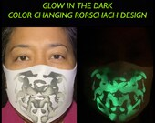 NEW! Adult Glow In The Dark Rorschach Design Mask Color Changing Moving Ink Blot Heat Activated Face Mask. With Free UV LED Light!