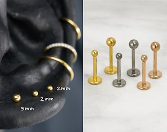 16G 18G 20G IMPLANT GRADE Tiny Ball Stud / Threadless Push Pin Stud /  2mm 3mm Tragus Cartilage / Steel Color