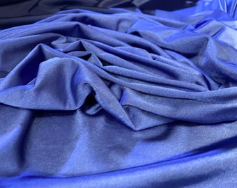 Electric blue green light weight stretch shimmer knit jersey dressmaking fabric price per metre 160cm  63 width
