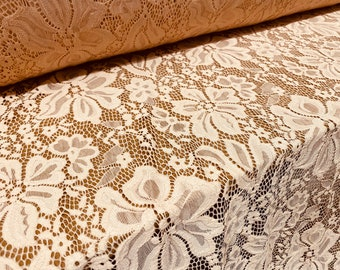 chantilly French lace fabric by the metre Black lace with gold