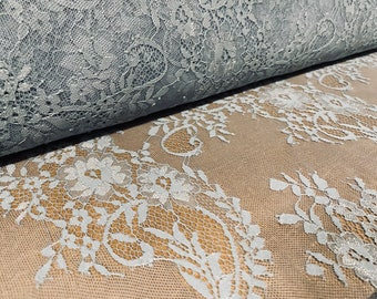Floral stretch lace net fabric, per metre - blue-grey