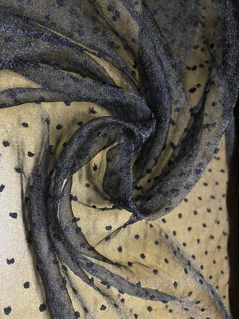 per metre Dobby organza fabric black