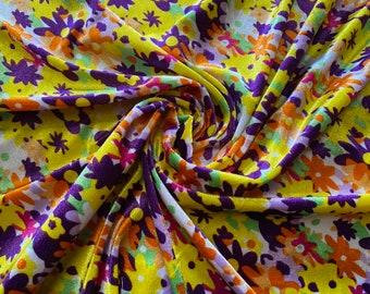 Floral print velour fabric, per metre - yellow & purple flowers
