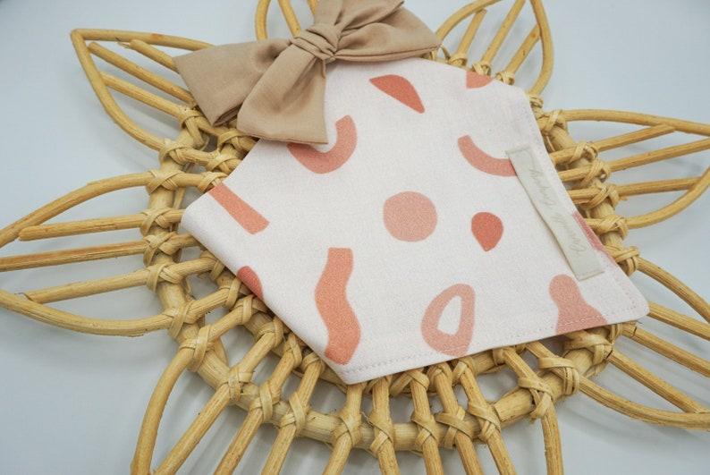 Boho Spring Summer Dog Bandana Dusty Rose Dog scarf Handmade Clay Pet Bandana Handcrafted Snap-on Terracotta