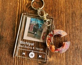 Custom BUNDLE- resin letter album keychain customizable photo and song ONLY CUSTOM Photo
