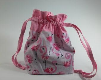 Drawstring Bag,  Pink Flamingo Drawstring  Bag , Gift Bag, Project Bag