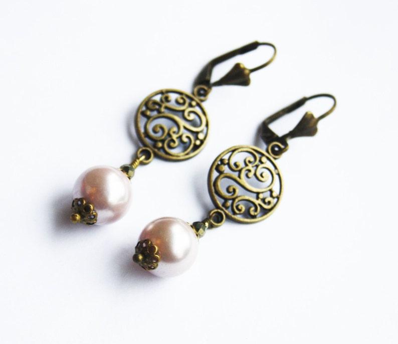 Beaded dangle earrings Gifts for her Gifts for friends Handmade earrings antique brass Boho earrings