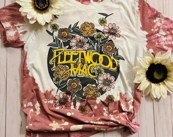 Women's custom hand bleached band T-shirt Fleetwood Mac