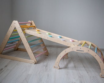 climbing triangle pastel rainbow, foldable triangle, ladder climber, montessori ramp, arch, Kletterdreieck, toddler climber, READY TO SHIP