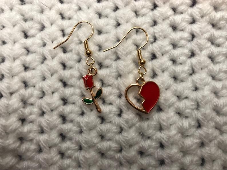 Rose and Heart Earrings