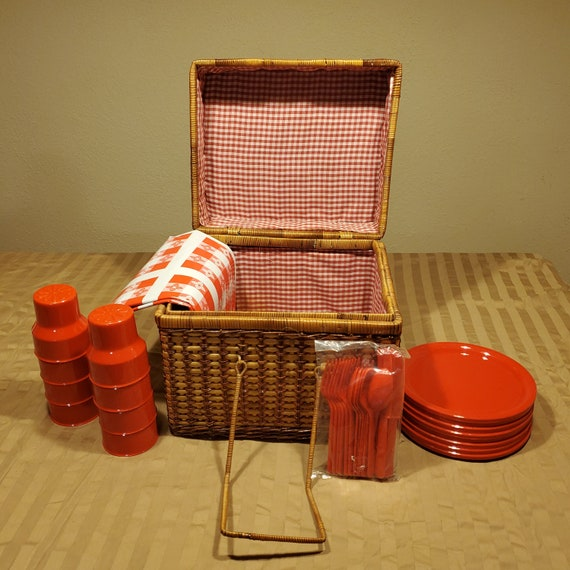 Red gingham Picnic Basket