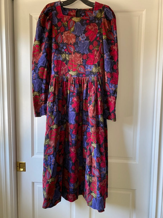 Laura Ashley Vintage Corduroy Floral Dress - Size