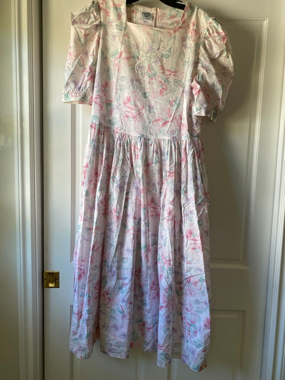 Laura Ashley Vintage Floral Dress with Puff Sleeve