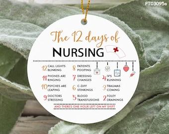 12 Days Of Nursing Ornament, Nurse Appreciation Ornament, Nurse Christmas Ornament, Christmas Decor, Gift For Nurse, Holiday Decoration
