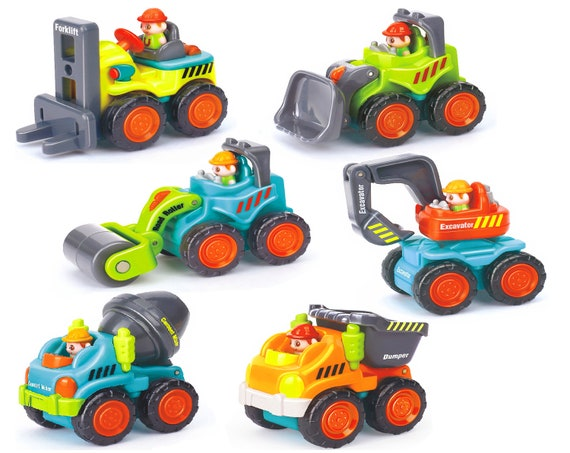 Personalized 6-Piece Sturdy Construction Vehicles Car Toy Set BPA-Free Rounded-Edges Fine Motor-Life Skills Maneuverable, Realistic Gift Toy