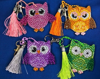 UPDATED PICS- Owls Diamond Painting Keychains With Tassels