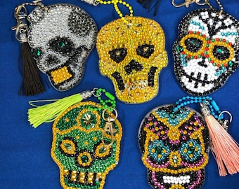 UPDATED PICS- Skulls Diamond Painting Keychains With Tassels