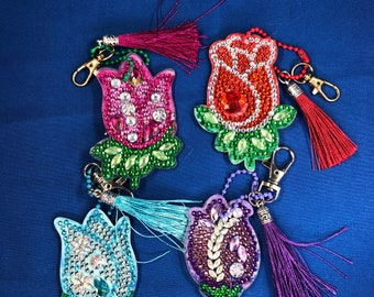 UPDATED PICS- Rose Diamond Painting Keychains With Tassels