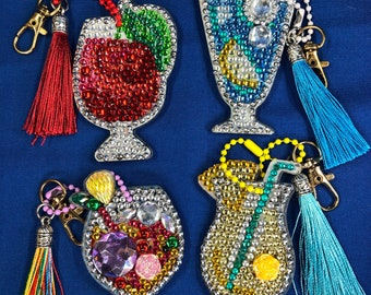 UPDATED PICS- Drinks Diamond Painting Keychains With Tassels