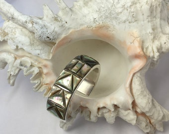 Vintage Silver & Mother of Pearl Native American Signed Cuff Bracelet