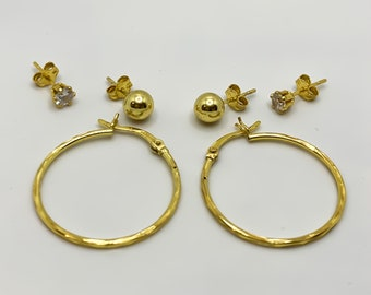 Sterling Silver Gold 3 Piece Set