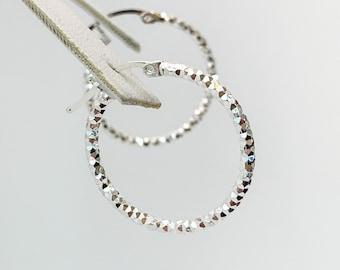 Small Textured Silver Hoop Earrings