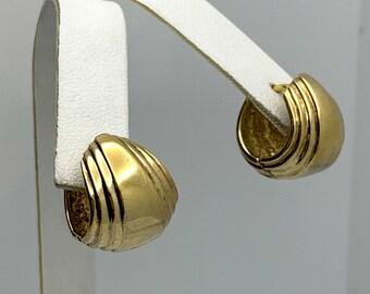 Small Vintage Vermeil Huggie Hoop Earrings