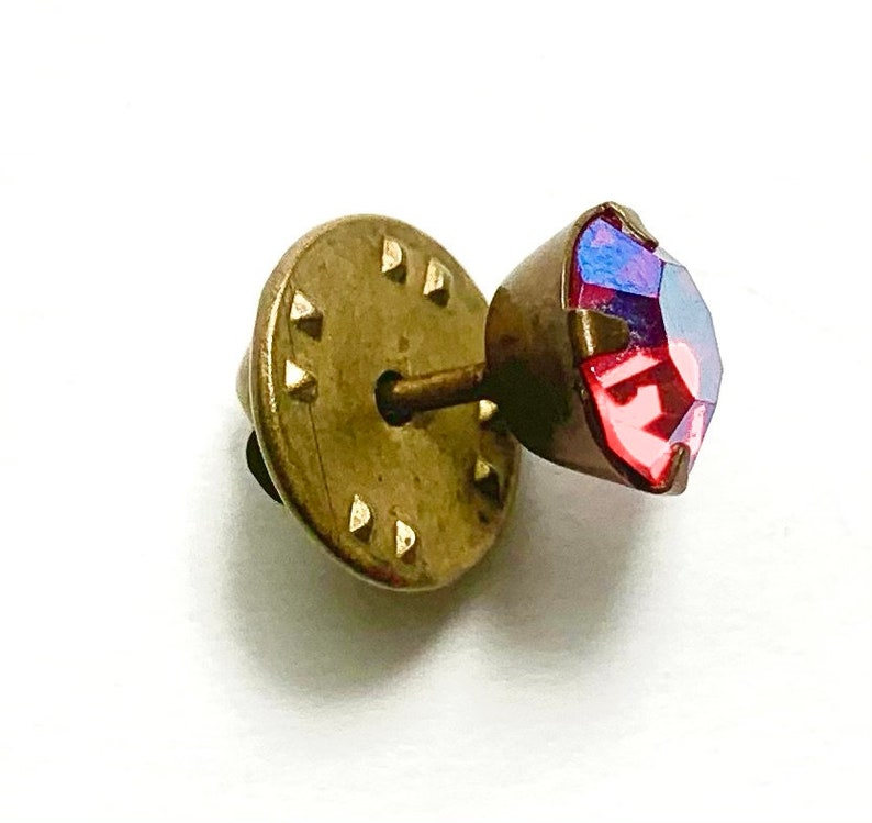 Vintage Classic Red Clear Stone Brass Plated Men Unisex Tie Tack Clasps Pin