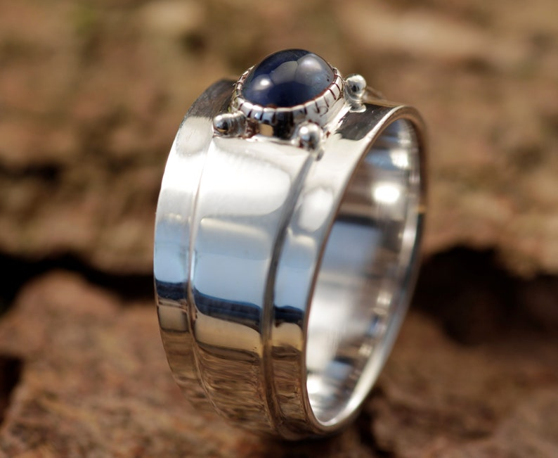 Unique Modern design Sapphire Ring Blue Gemstone Wide Sterling Silver Blue Sapphire Ring Blue Sapphire Ring Sterling Silver Wide Band