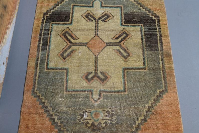 Bath mat Anatolian Handmade Door mat Small Area Rug Boho Antique Rug 3x4 Carpet 2\u20196\u201d x 4\u20191\u201d Turkish Vintage Oushak Rug Doormat Rug
