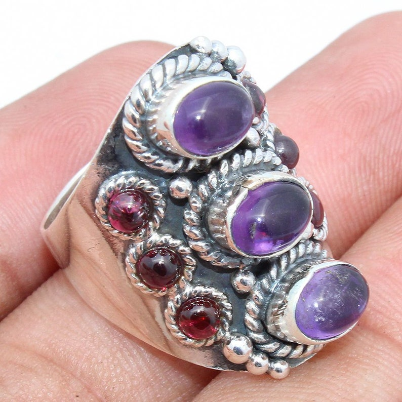 handmade jewelery amethyst and Garnet genuine stone,natural amethyst,purple gemstone ring,oval shaped,unique ring 925 sterling silver ring