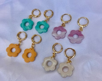 Flower Power Huggie Earrings