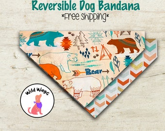 DOG BANDANA SCARF Fully Reversible Triangle Tie Custom Sized Yellow Polka Dot Sweet Dreams Teddy Bears