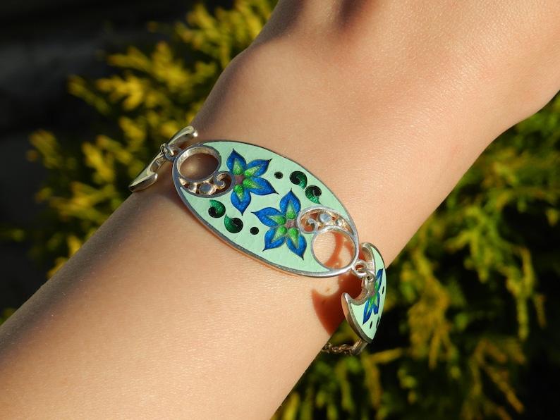 gift for woman handmade cloisonne bracelet artisan jewelry georgian enamel sterling silver bracelet cloisonne bracelet