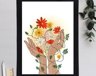 Printable artwork, mother earth, retro feel artwork, flowers, floral print