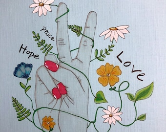 Wishes for 2020 - peace, love, hope drawing on blue paper. A4 size - original art