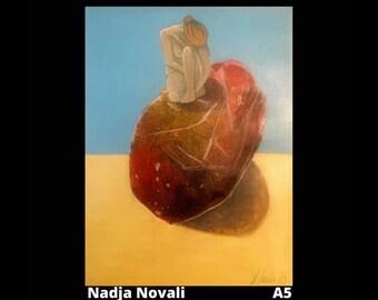 Broken heart - original painting A5 paper