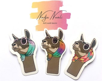 Sticker set with 3 Llama Divas - Vinyl stickers pack - shipping free delievery - perfect little gift for a friend