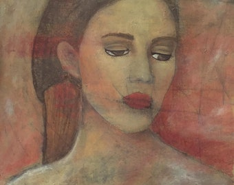 Melancholy - original work of art on paper with acrylic